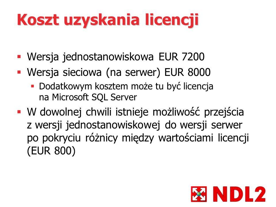 Koszt uzyskania licencji Wersja jednostanowiskowa EUR 7200 Wersja sieciowa (na serwer) EUR 8000 Dodatkowym kosztem może tu być licencja na Microsoft S