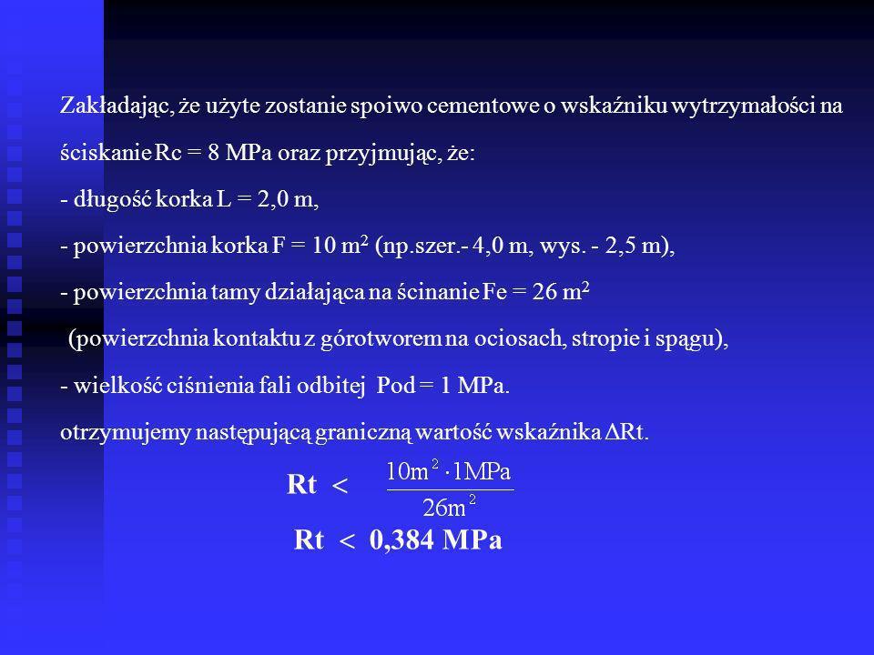 Z analizy równania ruchu korka podsadzkowego, stanowiącego tamę przeciwwybuchową - wg prof. A.Spychały wynika, że aby mógł nastąpić ruch /przesunięcie