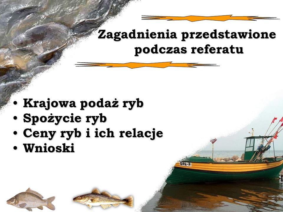 Zagadnienia przedstawione podczas referatu Krajowa podaż ryb Krajowa podaż ryb Spożycie ryb Spożycie ryb Ceny ryb i ich relacje Ceny ryb i ich relacje