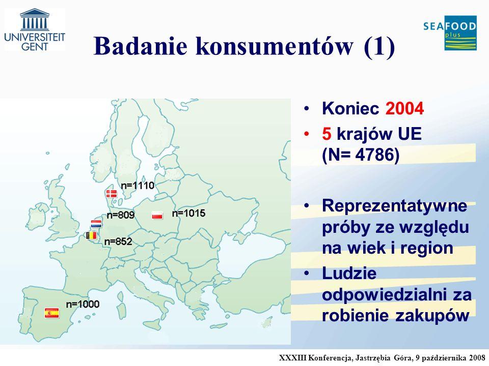 XXXIII Konferencja, Jastrzębia Góra, 9 października 2008 Badanie konsumentów (1) Koniec 2004 5 krajów UE (N= 4786) Reprezentatywne próby ze względu na wiek i region Ludzie odpowiedzialni za robienie zakupów