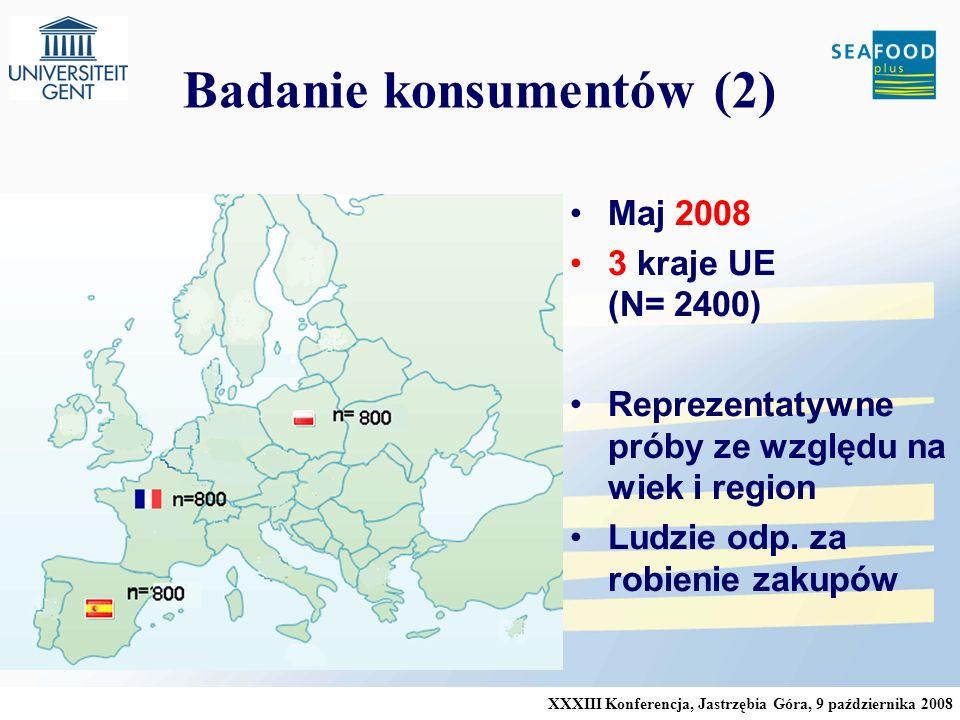 XXXIII Konferencja, Jastrzębia Góra, 9 października 2008 Badanie konsumentów (2) Maj 2008 3 kraje UE (N= 2400) Reprezentatywne próby ze względu na wiek i region Ludzie odp.