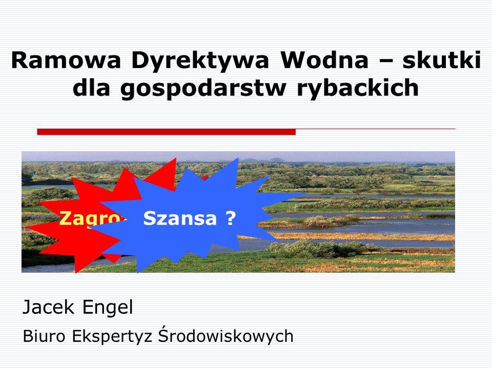 Zagrożenie ? Ramowa Dyrektywa Wodna – skutki dla gospodarstw rybackich Jacek Engel Biuro Ekspertyz Środowiskowych Szansa ?