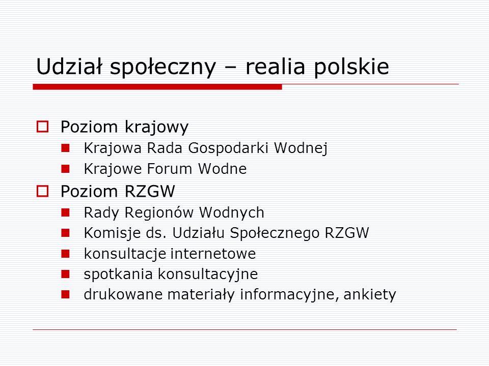 Udział społeczny – realia polskie Poziom krajowy Krajowa Rada Gospodarki Wodnej Krajowe Forum Wodne Poziom RZGW Rady Regionów Wodnych Komisje ds. Udzi