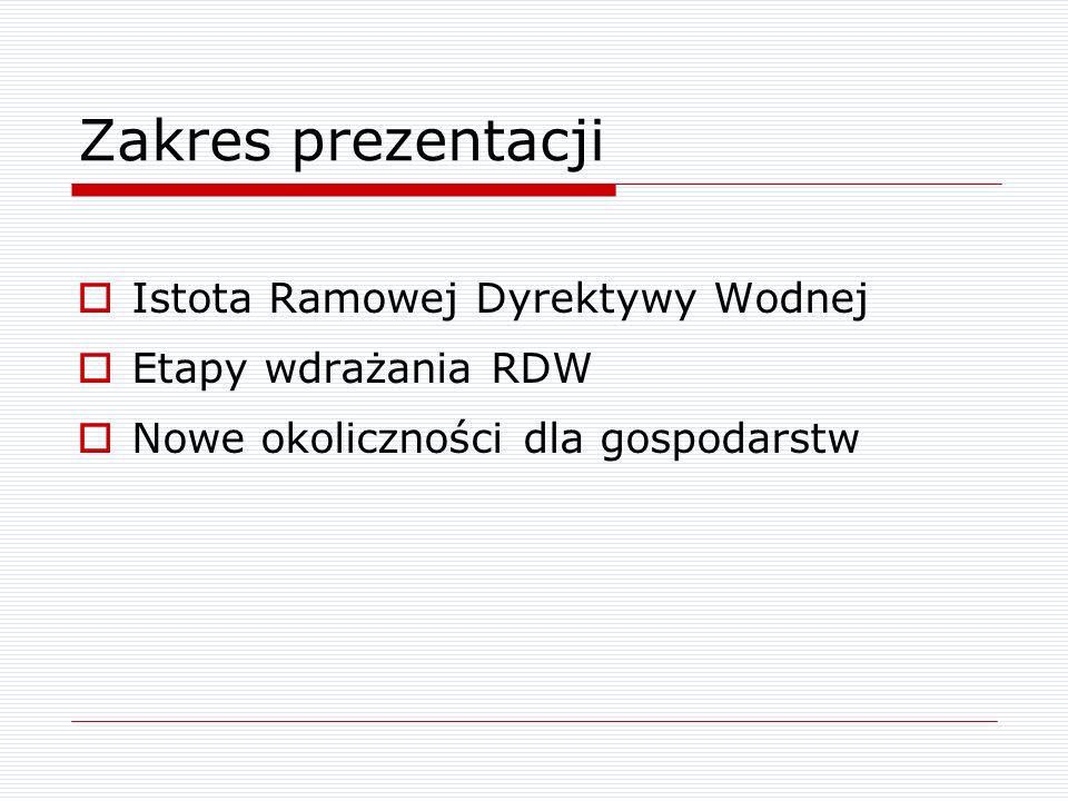 RDW – nowe prawo Dyrektywa 2000/60/WE z dnia 23 października 2000 r.