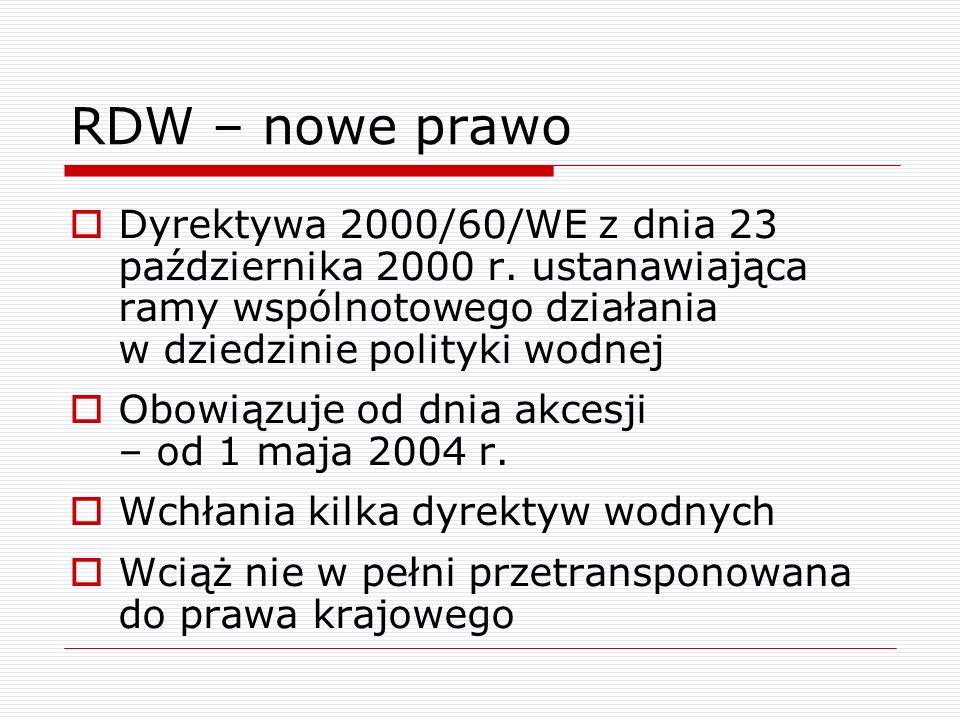 RDW – nowe prawo Dyrektywa 2000/60/WE z dnia 23 października 2000 r. ustanawiająca ramy wspólnotowego działania w dziedzinie polityki wodnej Obowiązuj