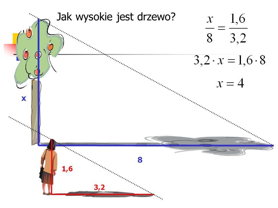 3x = 2 (4+x) 3x = 8 + 2x 3x - 2x = 8 X = 8 Przykład: oblicz długość odcinka x. x 4 2 3 2 3 = x x+4