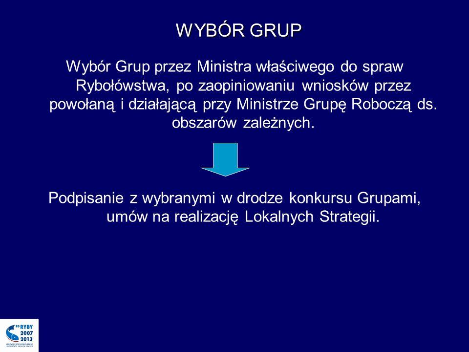 Wybór Grup przez Ministra właściwego do spraw Rybołówstwa, po zaopiniowaniu wniosków przez powołaną i działającą przy Ministrze Grupę Roboczą ds.
