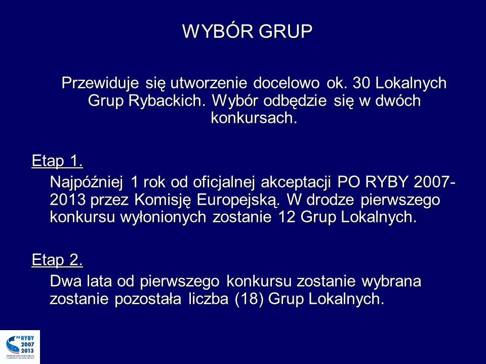 WYBÓR GRUP Przewiduje się utworzenie docelowo ok. 30 Lokalnych Grup Rybackich.