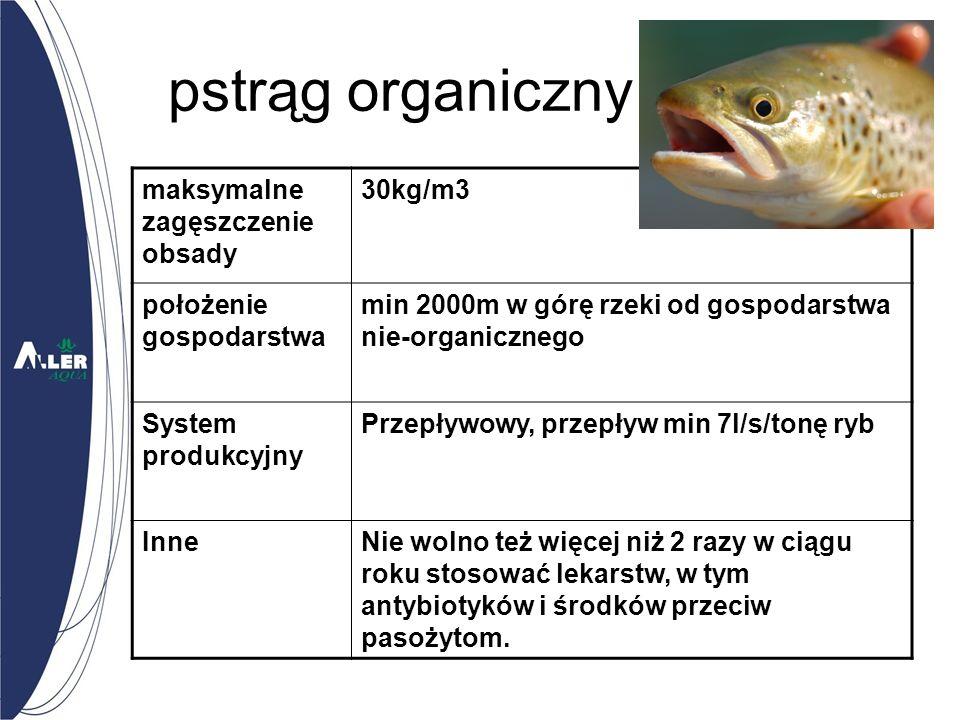 pstrąg organiczny maksymalne zagęszczenie obsady 30kg/m3 położenie gospodarstwa min 2000m w górę rzeki od gospodarstwa nie-organicznego System produkcyjny Przepływowy, przepływ min 7l/s/tonę ryb InneNie wolno też więcej niż 2 razy w ciągu roku stosować lekarstw, w tym antybiotyków i środków przeciw pasożytom.
