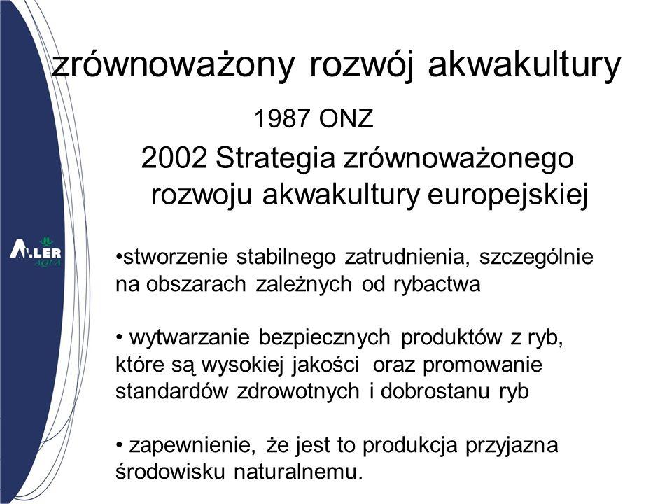zrównoważony rozwój akwakultury 2002 Strategia zrównoważonego rozwoju akwakultury europejskiej 1987 ONZ stworzenie stabilnego zatrudnienia, szczególnie na obszarach zależnych od rybactwa wytwarzanie bezpiecznych produktów z ryb, które są wysokiej jakości oraz promowanie standardów zdrowotnych i dobrostanu ryb zapewnienie, że jest to produkcja przyjazna środowisku naturalnemu.