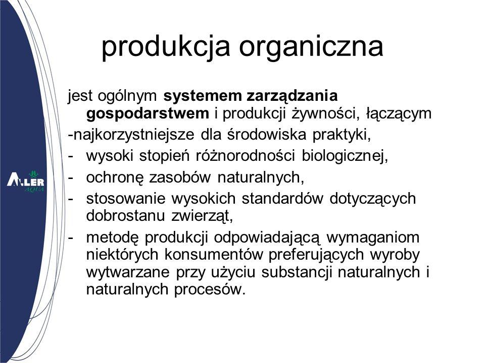 produkcja organiczna jest ogólnym systemem zarządzania gospodarstwem i produkcji żywności, łączącym -najkorzystniejsze dla środowiska praktyki, -wysoki stopień różnorodności biologicznej, -ochronę zasobów naturalnych, -stosowanie wysokich standardów dotyczących dobrostanu zwierząt, -metodę produkcji odpowiadającą wymaganiom niektórych konsumentów preferujących wyroby wytwarzane przy użyciu substancji naturalnych i naturalnych procesów.