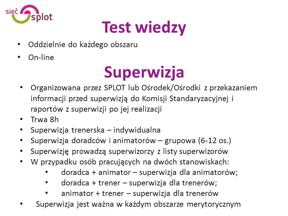Test wiedzy Oddzielnie do każdego obszaru On-line Organizowana przez SPLOT lub Ośrodek/Ośrodki z przekazaniem informacji przed superwizją do Komisji Standaryzacyjnej i raportów z superwizji po jej realizacji Trwa 8h Superwizja trenerska – indywidualna Superwizja doradców i animatorów – grupowa (6-12 os.) Superwizję prowadzą superwizorzy z listy superwizorów W przypadku osób pracujących na dwóch stanowiskach: doradca + animator – superwizja dla animatorów; doradca + trener – superwizja dla trenerów; animator + trener – superwizja dla trenerów Superwizja jest ważna w każdym obszarze merytorycznym Superwizja