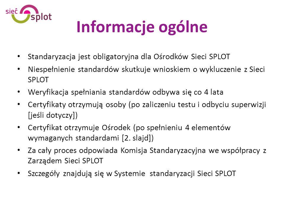 Informacje ogólne Standaryzacja jest obligatoryjna dla Ośrodków Sieci SPLOT Niespełnienie standardów skutkuje wnioskiem o wykluczenie z Sieci SPLOT Weryfikacja spełniania standardów odbywa się co 4 lata Certyfikaty otrzymują osoby (po zaliczeniu testu i odbyciu superwizji [jeśli dotyczy]) Certyfikat otrzymuje Ośrodek (po spełnieniu 4 elementów wymaganych standardami [2.
