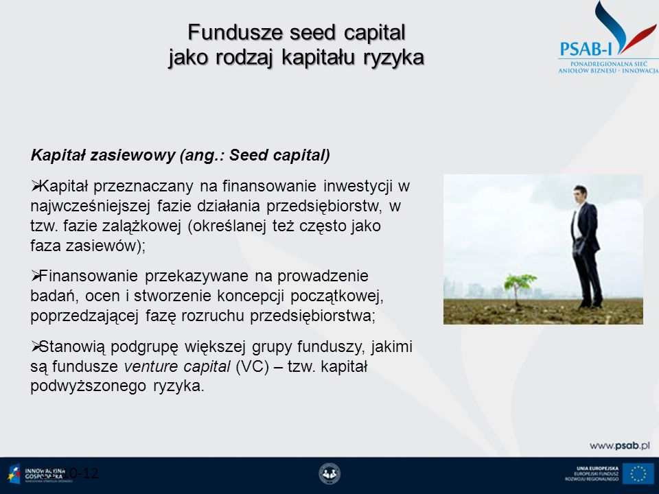 Fundusze seed capital jako rodzaj kapitału ryzyka 11-10-12 Kapitał zasiewowy (ang.: Seed capital) Kapitał przeznaczany na finansowanie inwestycji w na