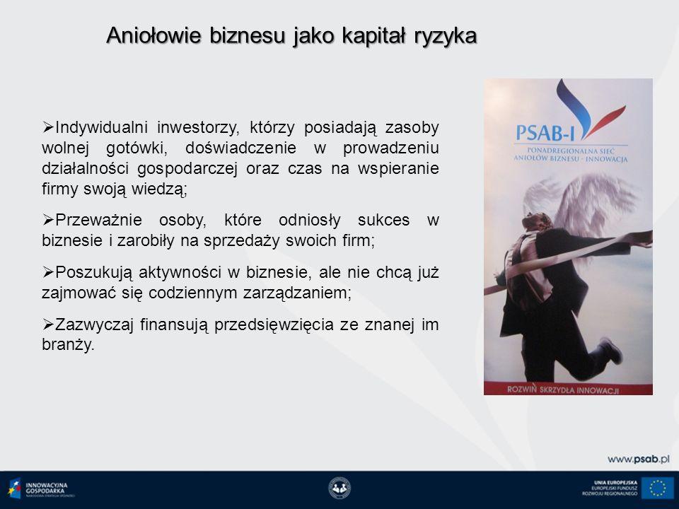 Charakterystyka Polskiego Anioła Biznesu W portfelu inwestycyjnym dysponuje kwotą 100 tys.