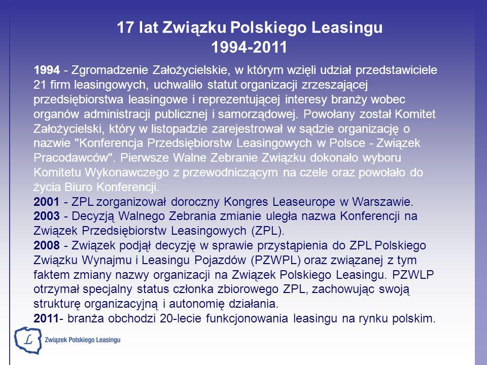 17 lat Związku Polskiego Leasingu 1994-2011 1994 - Zgromadzenie Założycielskie, w którym wzięli udział przedstawiciele 21 firm leasingowych, uchwaliło