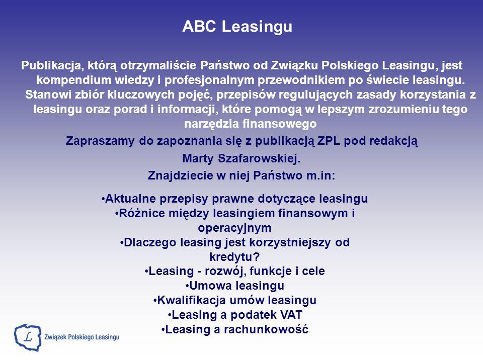 Publikacja, którą otrzymaliście Państwo od Związku Polskiego Leasingu, jest kompendium wiedzy i profesjonalnym przewodnikiem po świecie leasingu. Stan