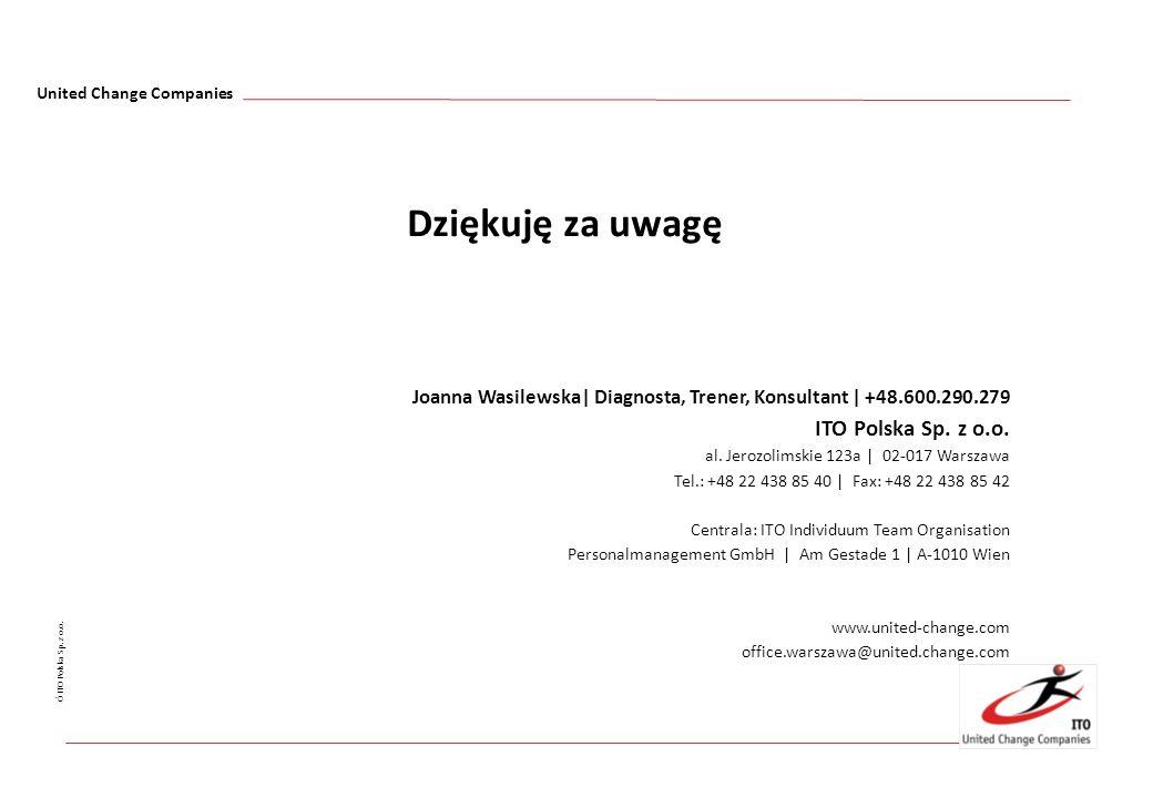 United Change Companies Ó ITO Polska Sp. z o.o. Joanna Wasilewska| Diagnosta, Trener, Konsultant | +48.600.290.279 ITO Polska Sp. z o.o. al. Jerozolim