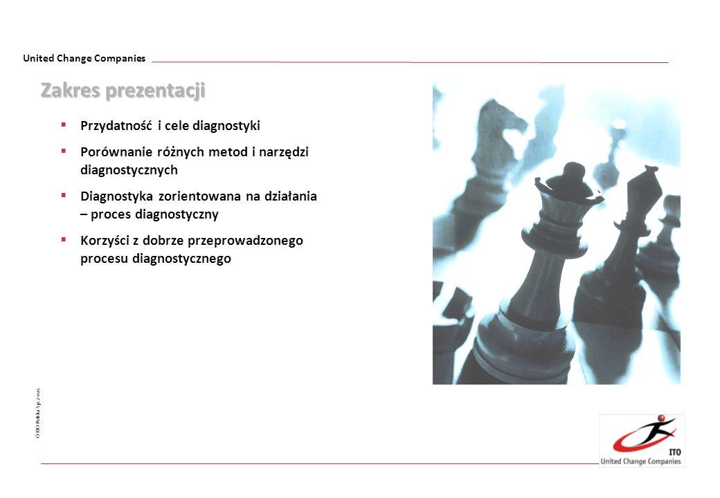 United Change Companies Ó ITO Polska Sp. z o.o. Zakres prezentacji Przydatność i cele diagnostyki Porównanie różnych metod i narzędzi diagnostycznych