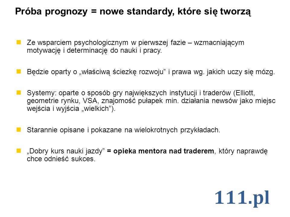 Próba prognozy = nowe standardy, które się tworzą Ze wsparciem psychologicznym w pierwszej fazie – wzmacniającym motywację i determinację do nauki i p