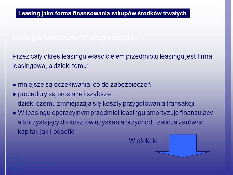 Leasing to także elementy usługi dzierżawy Przez cały okres leasingu właścicielem przedmiotu leasingu jest firma leasingowa, a dzięki temu: mniejsze s