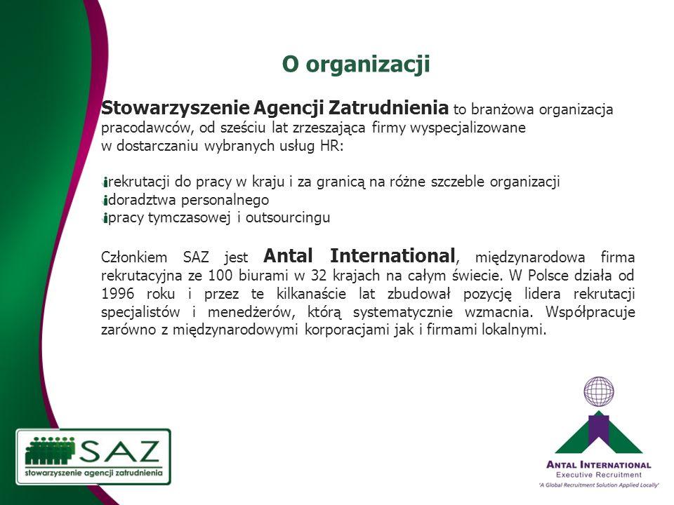 O organizacji Stowarzyszenie Agencji Zatrudnienia to branżowa organizacja pracodawców, od sześciu lat zrzeszająca firmy wyspecjalizowane w dostarczaniu wybranych usług HR: rekrutacji do pracy w kraju i za granicą na różne szczeble organizacji doradztwa personalnego pracy tymczasowej i outsourcingu Członkiem SAZ jest Antal International, międzynarodowa firma rekrutacyjna ze 100 biurami w 32 krajach na całym świecie.
