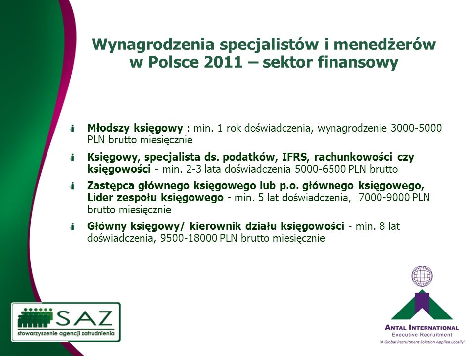 Wynagrodzenia specjalistów i menedżerów w Polsce 2011 – sektor finansowy Młodszy księgowy : min.