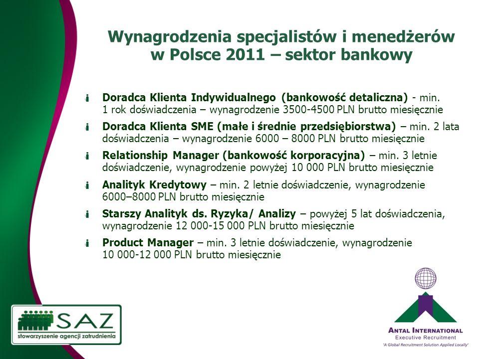 Wynagrodzenia specjalistów i menedżerów w Polsce 2011 – sektor bankowy Doradca Klienta Indywidualnego (bankowość detaliczna) - min.