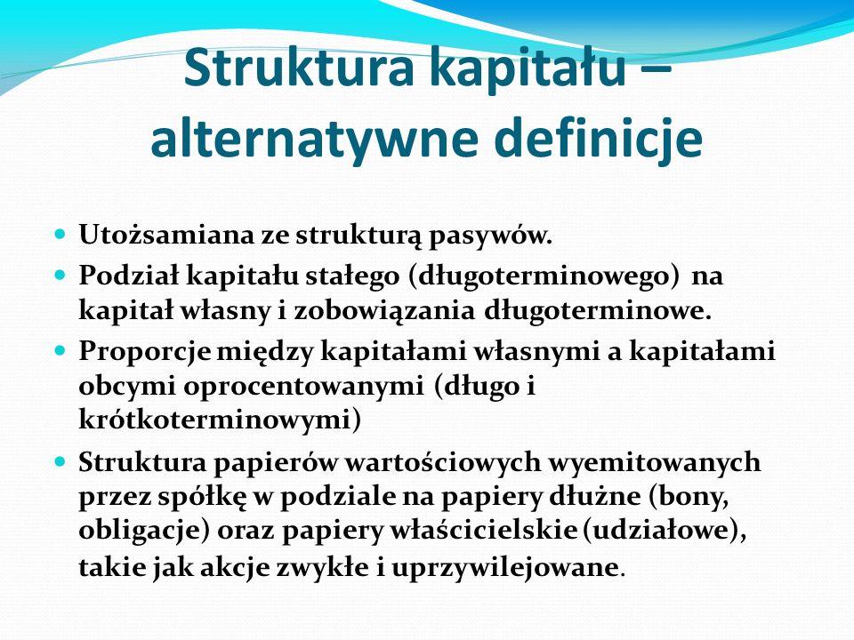 Docelowa struktura kapitału Docelowa struktura kapitału – pożądane proporcje kapitału obcego i kapitału własnego.