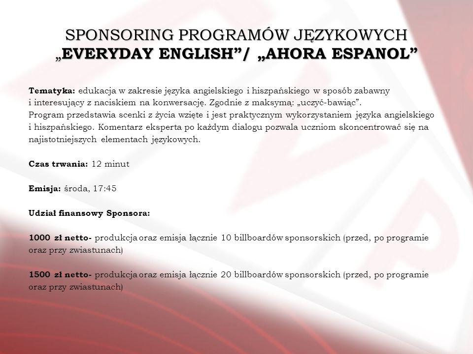 SPONSORING PROGRAMÓW JĘZYKOWYCH EVERYDAY ENGLISH/ AHORA ESPANOL Tematyka: edukacja w zakresie języka angielskiego i hiszpańskiego w sposób zabawny i i