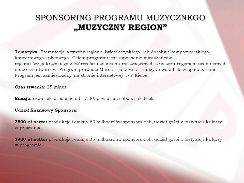 SPONSORING PROGRAMU MUZYCZNEGO MUZYCZNY REGION Tematyka: Prezentacja artystów regionu świętokrzyskiego, ich dorobku kompozytorskiego, koncertowego i p