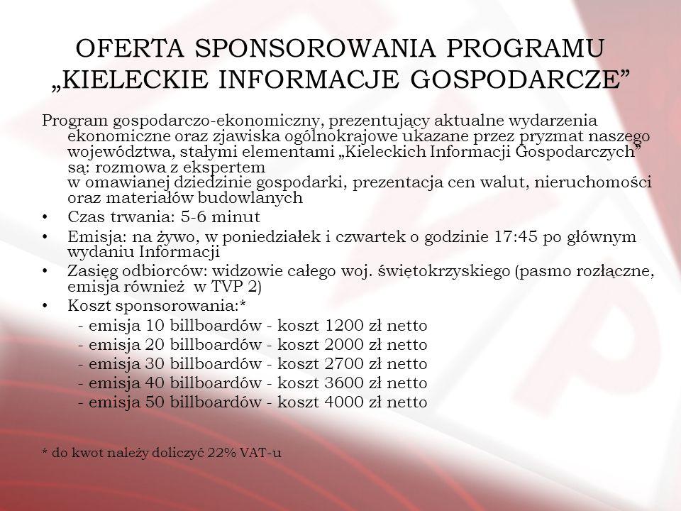 OFERTA SPONSOROWANIA PROGRAMU KIELECKIE INFORMACJE GOSPODARCZE Program gospodarczo-ekonomiczny, prezentujący aktualne wydarzenia ekonomiczne oraz zjaw