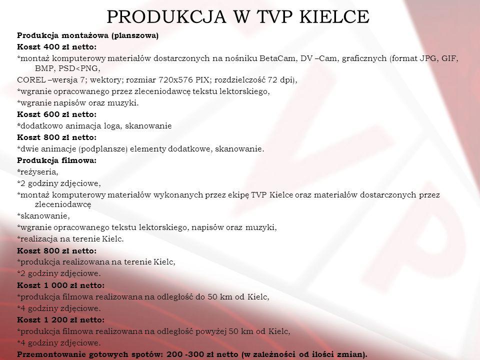PRODUKCJA W TVP KIELCE Produkcja montażowa (planszowa) Koszt 400 zł netto: *montaż komputerowy materiałów dostarczonych na nośniku BetaCam, DV –Cam, g