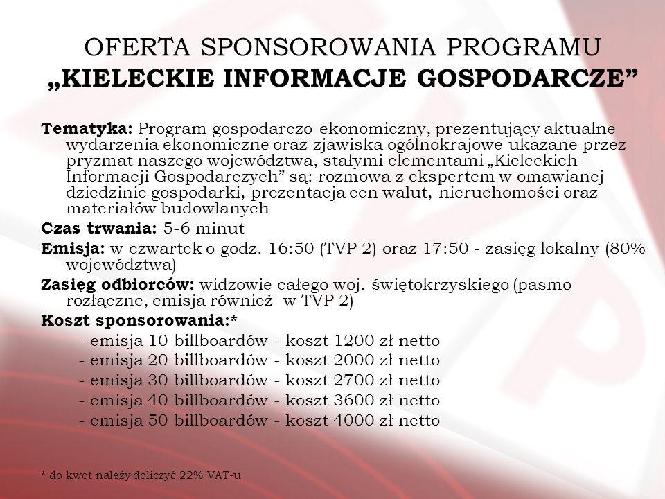 OFERTA SPONSOROWANIA PROGRAMU KIELECKIE INFORMACJE GOSPODARCZE Tematyka: Program gospodarczo-ekonomiczny, prezentujący aktualne wydarzenia ekonomiczne