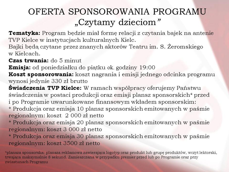 OFERTA SPONSOROWANIA PROGRAMU Czytamy dzieciom Tematyka: Program będzie miał formę relacji z czytania bajek na antenie TVP Kielce w instytucjach kultu