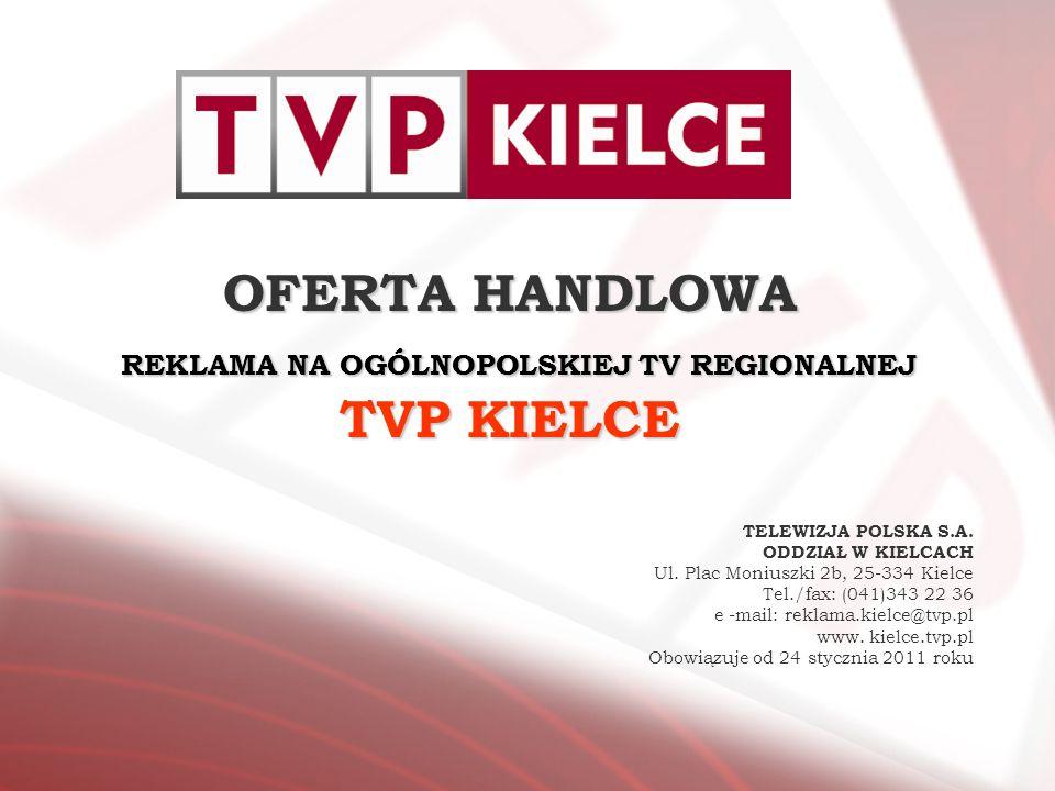 OFERTA HANDLOWA REKLAMA NA OGÓLNOPOLSKIEJ TV REGIONALNEJ TVP KIELCE TELEWIZJA POLSKA S.A. ODDZIAŁ W KIELCACH Ul. Plac Moniuszki 2b, 25-334 Kielce Tel.