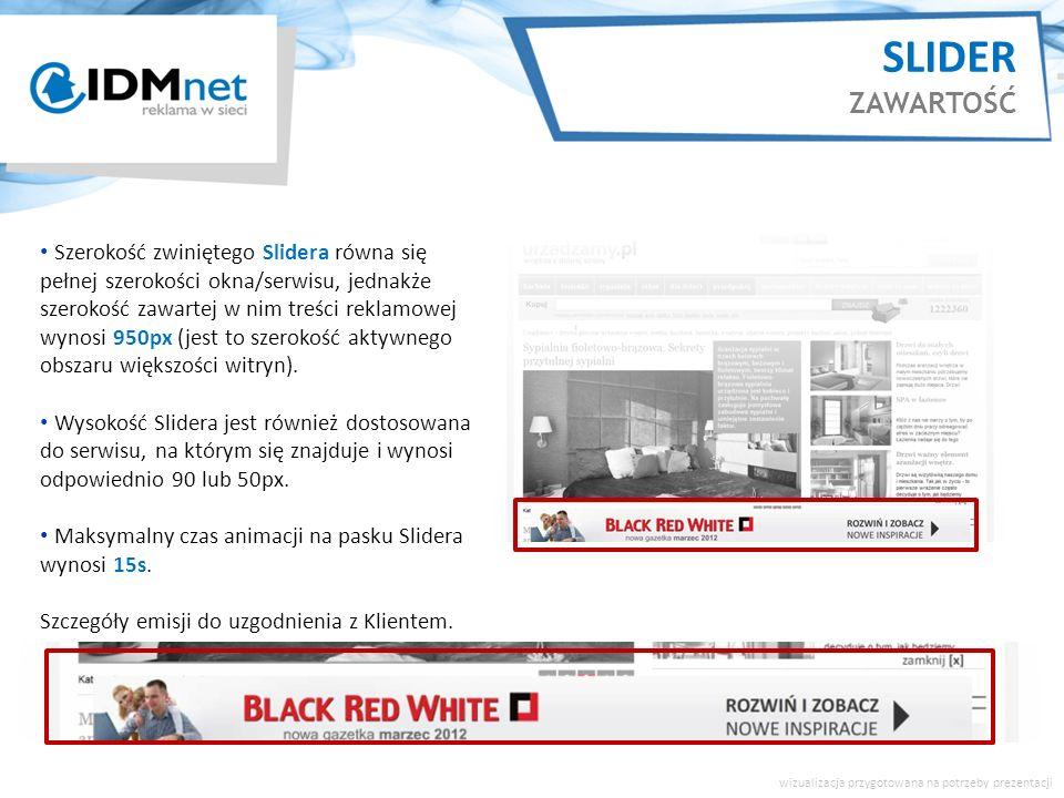 Szerokość zwiniętego Slidera równa się pełnej szerokości okna/serwisu, jednakże szerokość zawartej w nim treści reklamowej wynosi 950px (jest to szerokość aktywnego obszaru większości witryn).