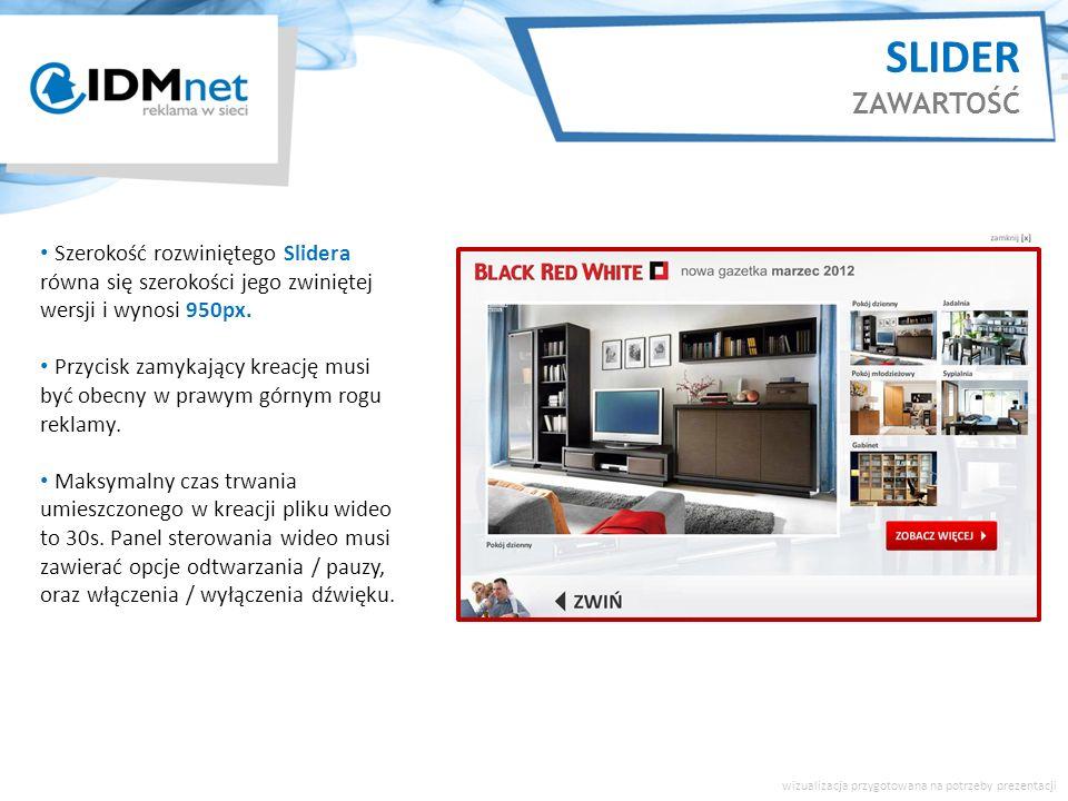 Szerokość rozwiniętego Slidera równa się szerokości jego zwiniętej wersji i wynosi 950px.