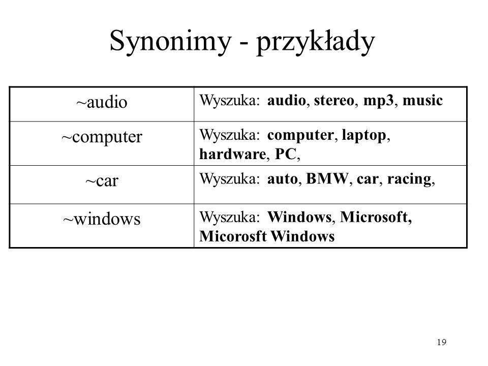 19 Synonimy - przykłady ~audio Wyszuka: audio, stereo, mp3, music ~computer Wyszuka: computer, laptop, hardware, PC, ~car Wyszuka: auto, BMW, car, rac