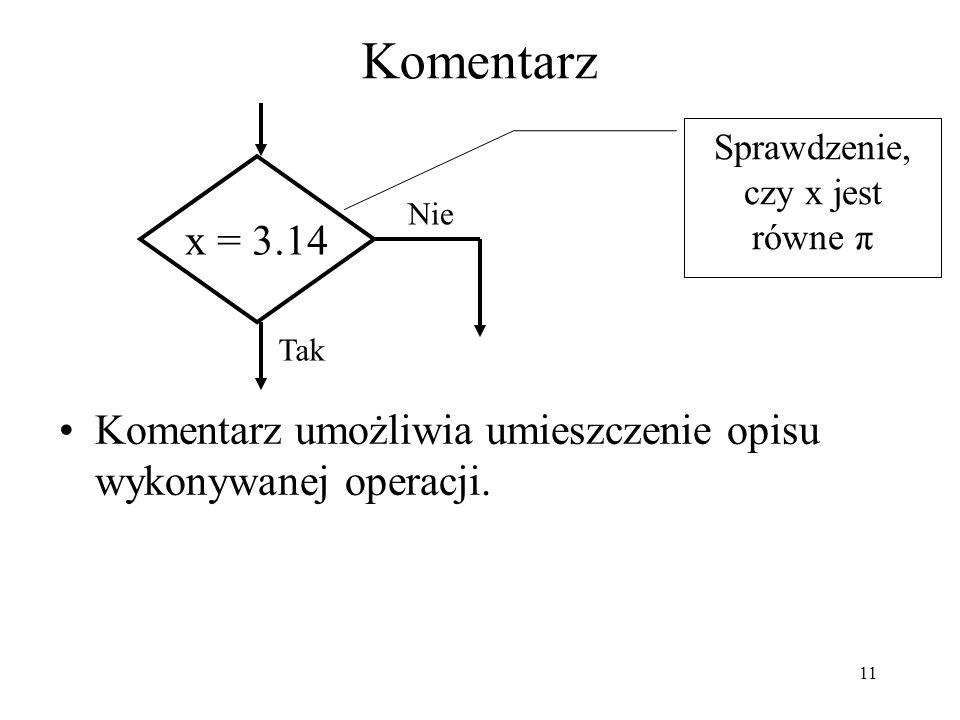 12 Łącznik stronicowy Łącznik ten pozwala na łączenie fragmentów algorytmu, które nie są blisko siebie, a znajdują się na jednej kartce.