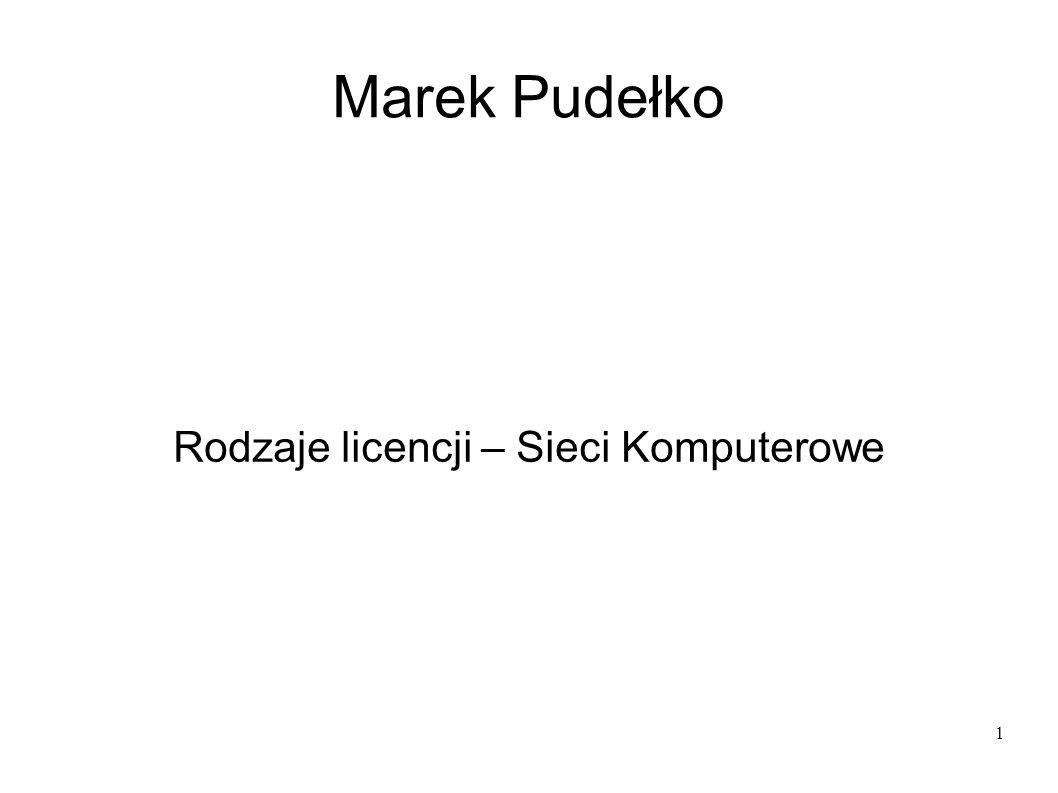 1 Marek Pudełko Rodzaje licencji – Sieci Komputerowe