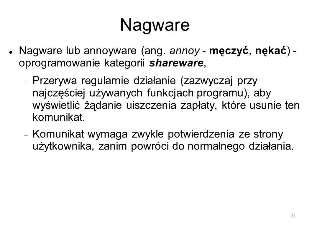 11 Nagware Nagware lub annoyware (ang. annoy - męczyć, nękać) - oprogramowanie kategorii shareware, Przerywa regularnie działanie (zazwyczaj przy najc