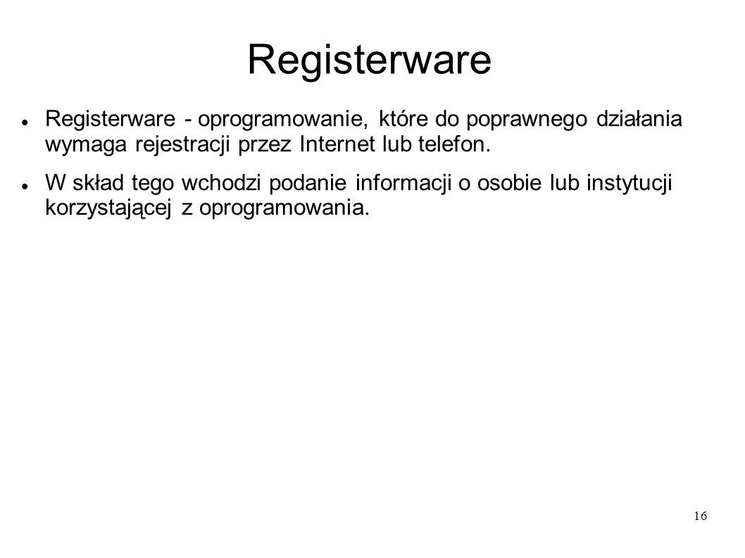 16 Registerware Registerware - oprogramowanie, które do poprawnego działania wymaga rejestracji przez Internet lub telefon. W skład tego wchodzi podan