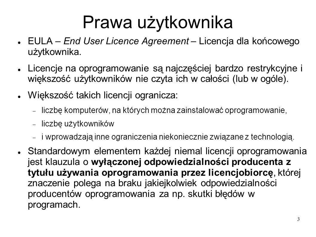34 Cele licencji GNU GPL wolność uruchamiania programu w dowolnym celu wolność analizowania, jak program działa i dostosowywania go do swoich potrzeb wolność rozpowszechniania niezmodyfikowanej kopii programu wolność udoskonalania programu i publicznego rozpowszechniania własnych ulepszeń, dzięki czemu może z nich skorzystać cała społeczność.