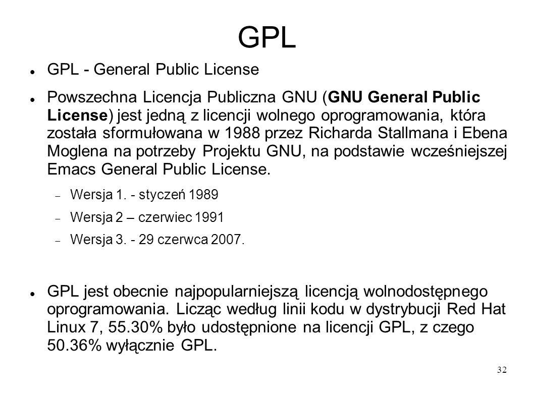 32 GPL GPL - General Public License Powszechna Licencja Publiczna GNU (GNU General Public License) jest jedną z licencji wolnego oprogramowania, która
