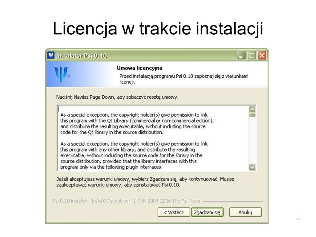 4 Licencja w trakcie instalacji