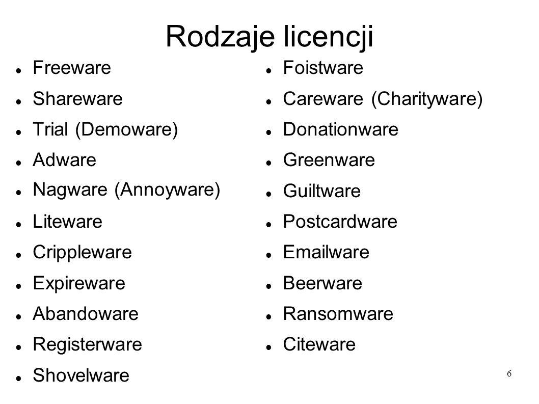 6 Rodzaje licencji Freeware Shareware Trial (Demoware) Adware Nagware (Annoyware) Liteware Crippleware Expireware Abandoware Registerware Shovelware F