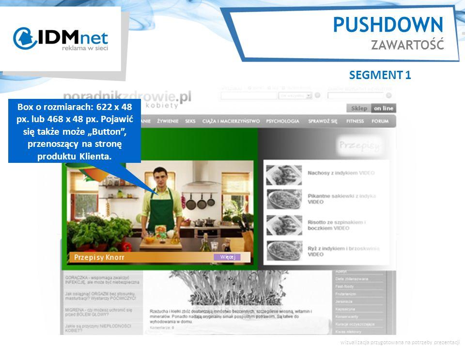 PUSHDOWN ZAWARTOŚĆ SEGMENT 1 wizualizacja przygotowana na potrzeby prezentacji Duże zdjęcie, video może być emitowane rotacyjnie ze zdjęciami/ spotami umieszczonymi w galerii po prawej stronie formatu.