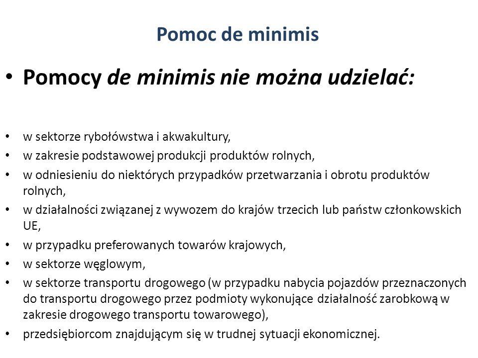 Pomocy de minimis nie można udzielać: w sektorze rybołówstwa i akwakultury, w zakresie podstawowej produkcji produktów rolnych, w odniesieniu do niekt