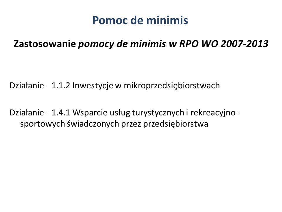 Zastosowanie pomocy de minimis w RPO WO 2007-2013 Działanie - 1.1.2 Inwestycje w mikroprzedsiębiorstwach Działanie - 1.4.1 Wsparcie usług turystycznyc